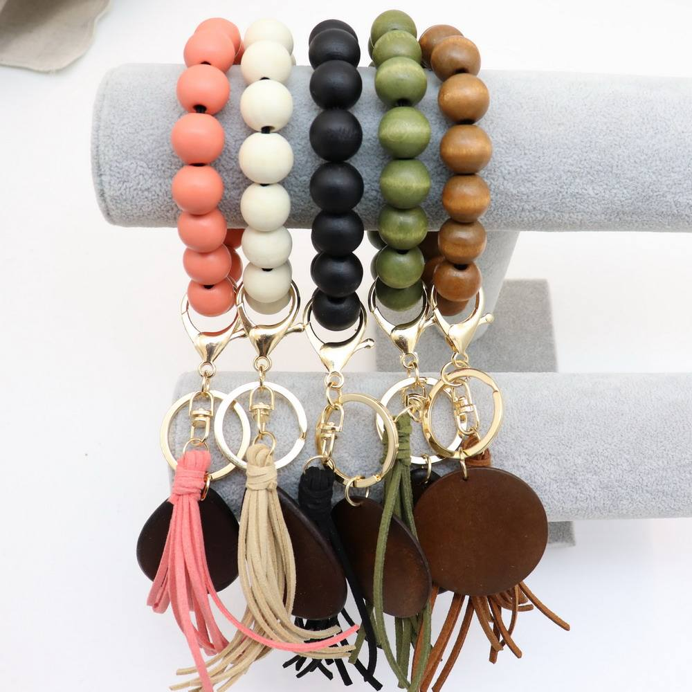 2021 Personalized Cheap Wood Elastic Beaded Bracelet Tassel Key rings Keychains