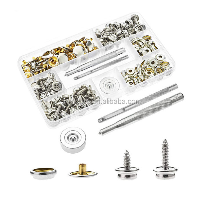 Stainless Steel Canvas Upholstery Boat Cover Snap Button Fastener Kit With Setting Tool