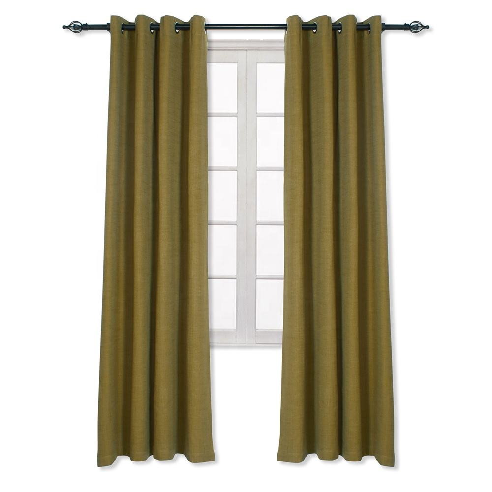 In Stock Dark Lime Faux Linen Grommet Thermal Isolated Luxury Drapes And Curtains Manufacturer