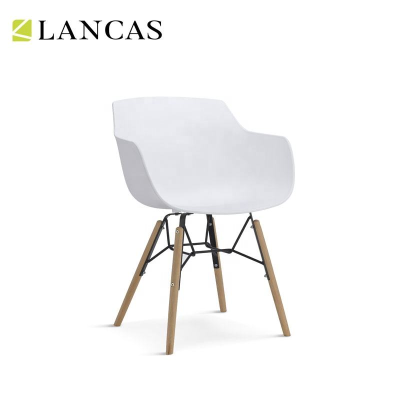 China Dining Room Furniture Wood Legs White Plastic Chairs Suppliers