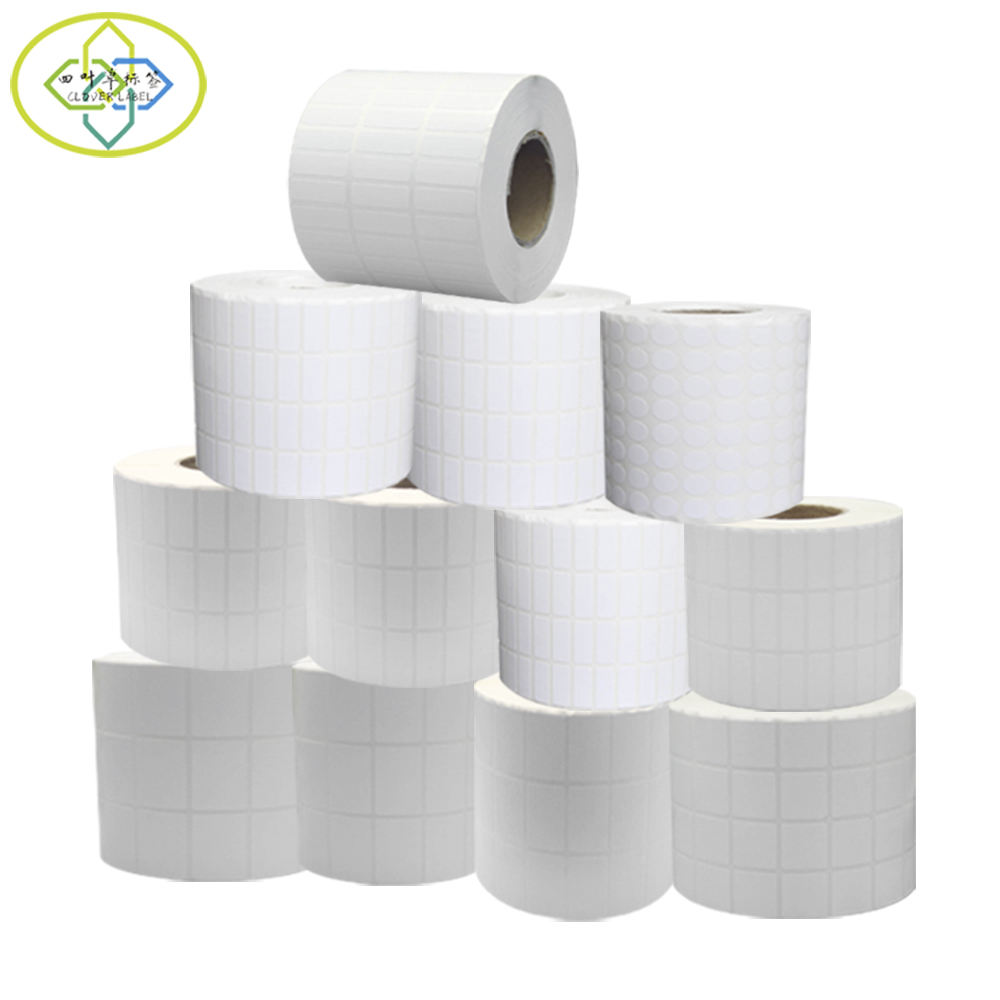 Blank Custom Size White Thermal Transfer Label Self Adhesive Paper Barcode Stickers Rolls for Shipping Mark