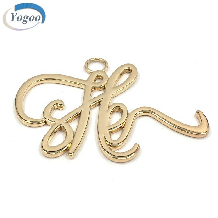 High Quality Bag Accessories Custom Alloy Metal Hang Logo Letters Tag
