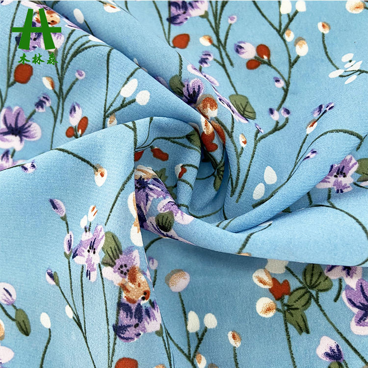 Mulinsen Textile Flower Printed ITY Polyester Spandex Silk Like Scarves Chiffon Fabric