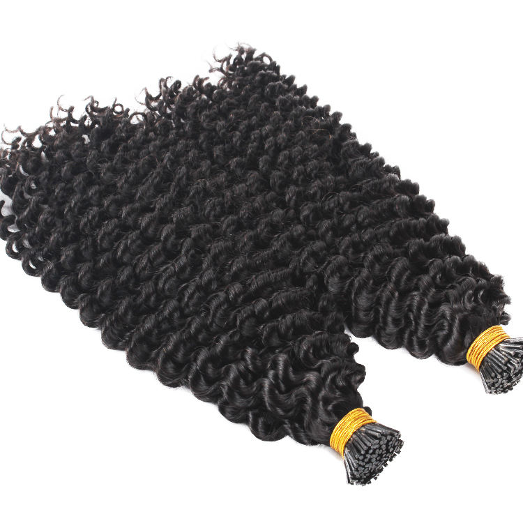 Double drawn human remy wavy 10A,11A Burmese I tip hair extensions Kinky curly