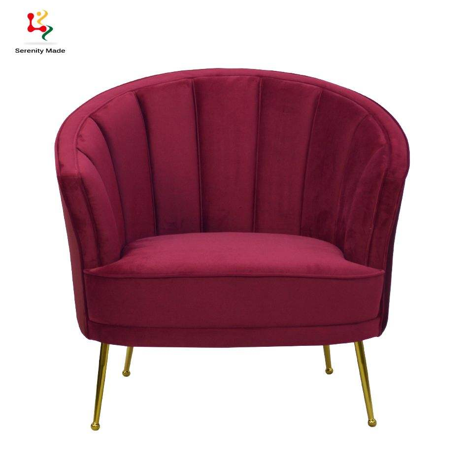 New Arrival Commercial Hotel Gold Metal Leg Fabric Upholstery Modern Leisure Lounge Chair