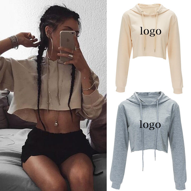 2020 Autumn Latest Design Custom Logo Long Sleeve Hoodies Sexy Crop Tops for Women