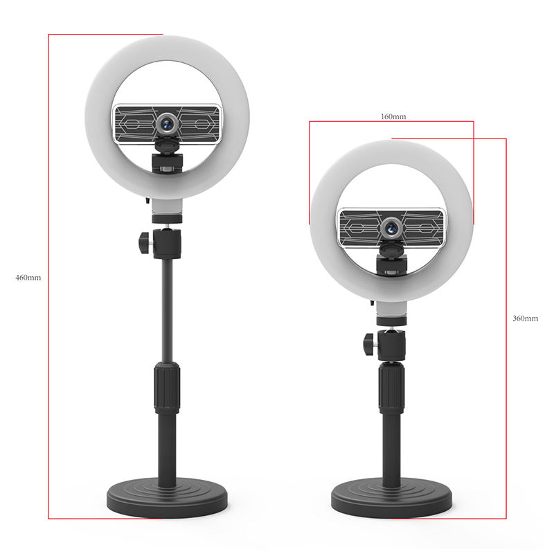 Makeup Mirror Flash Light Mini Usb Clip Mobile Live Video Circular Ceiling Photography Led Selfie Ring Light with Webcam Camera