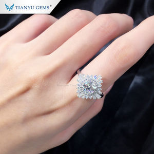 Tianyu Permata 1ct H & Cutting Moissanite Lab Berlian Emas Putih 18 K Cincin Pertunangan Cincin