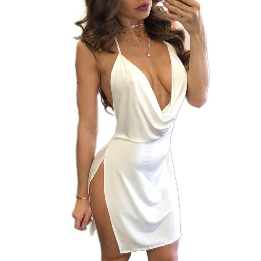 2020 Newest Sexy Deep V-Neck Halter Backless Slit Mini Party Club Short Skirt Bodycon Maxi Dress For Women