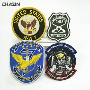 Quality assurance embroidered uniform patches, hook and loop backing patch custom