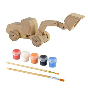 Wooden diy building paint excavator toys for child