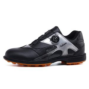 Custom Wholesale Factory OEM Japan Korea PU Leather Black Dial Lock Auto Laces Spikenessless Men Golf Shoes