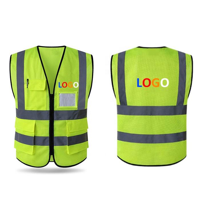 154cm Chest Lightweight Workwear Zipper Blue Custom Logo Breathable Yellow Mesh Safety Reflective Vest with Fine Holes