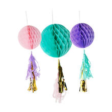 3 pcs purple pick honeycomb tissue ball with tassel for birthday party decoration set  for girl baby shower party 601059