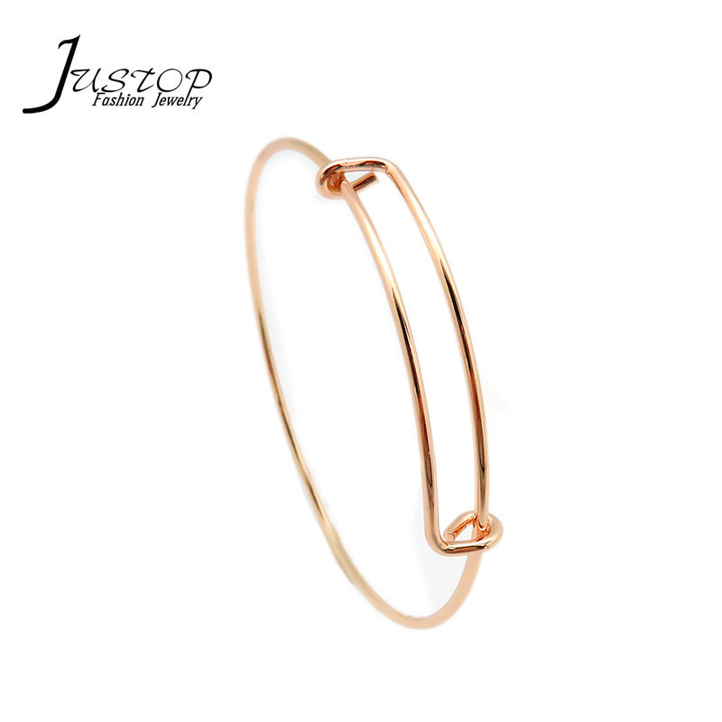 Simple Brass Jewelry Gold Filled Custom Adjustable Expandable Bangles