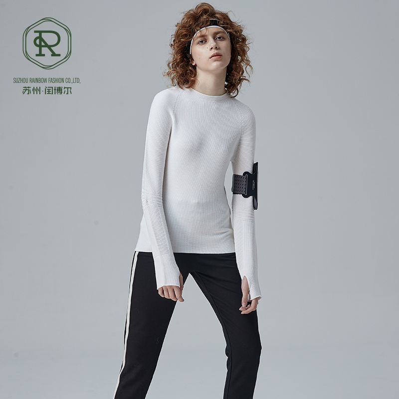 Sweater Wool Wholesale Custom Logo Long Sleeve Pullover Slim Sport Style Custom White Hand Knitted Alpaca Wool Ladies Sweater