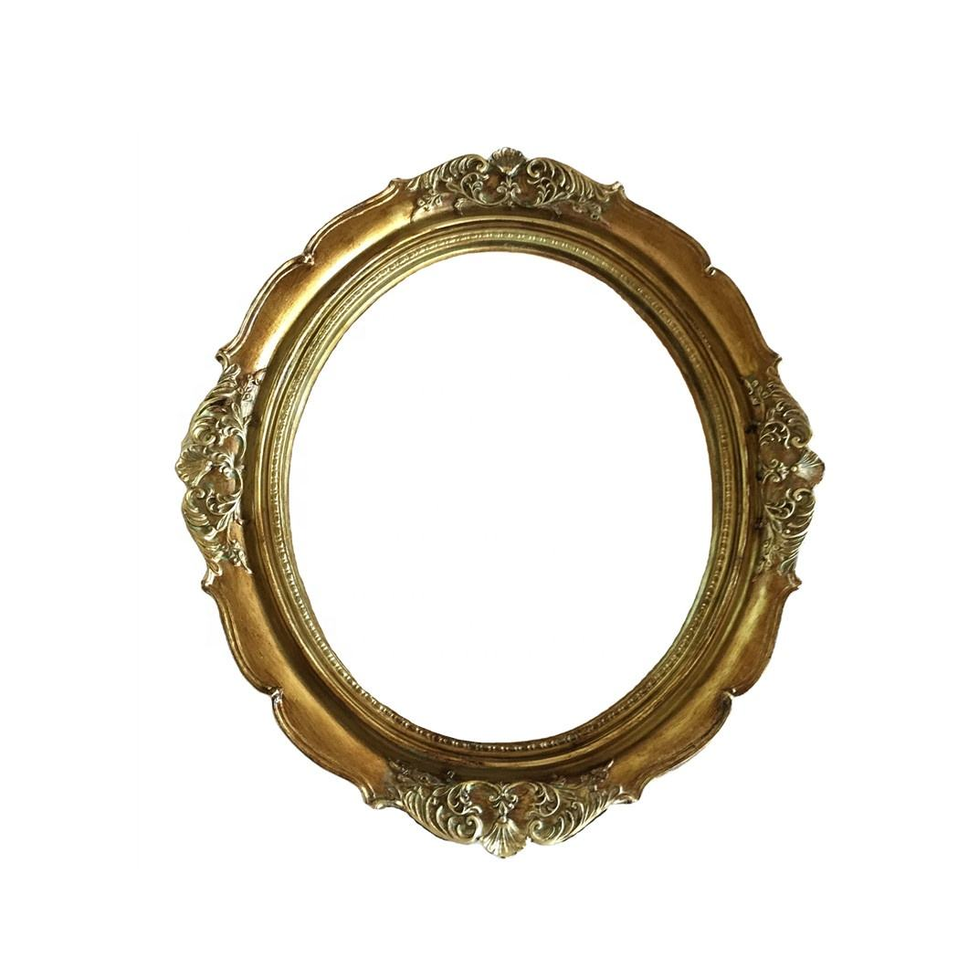 Wall-Mounted Antique Gold Mirror Oval 8x10 Inches Creative Bathroom Resin Mirror Frame