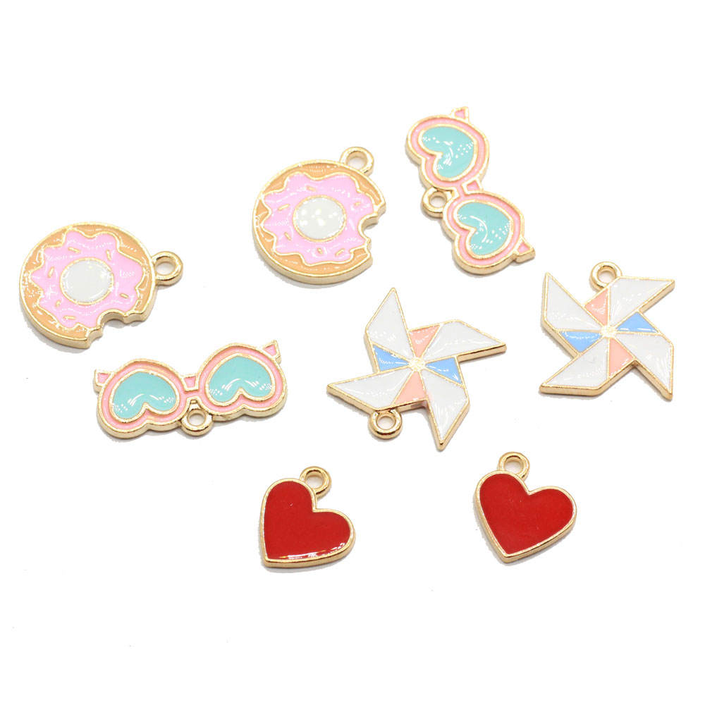 Kawaii Metal Heart Glasses Windmill Toy Donut Shape Necklace or Earring Accessories Home Decor Parts
