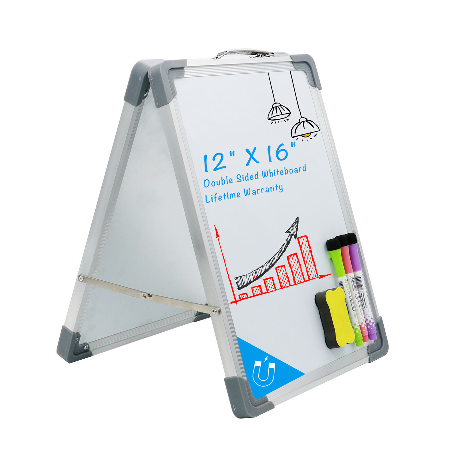 Foldable Portable Desktop Mini Double Sided Small Dry Erase Magnetic Erase White Board Whiteboard for Students Kids