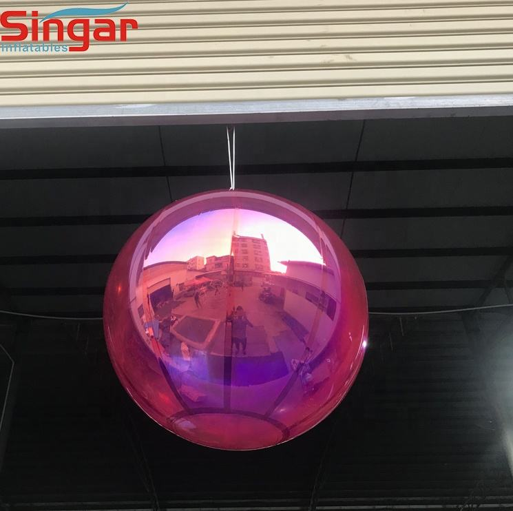 Fashion show inflatable hanging reflective pink mirror balls for decoration