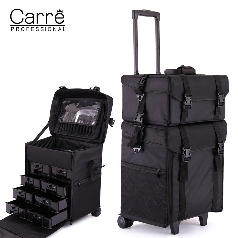 Carre hot sell professional 2 in 1 soft side nylon make up rolling travel train cosmetic case with drawers