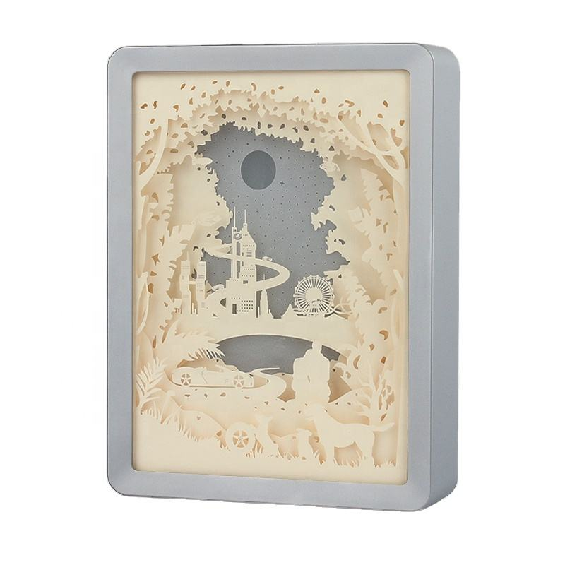 Customized Shadowbox Display Case Photos paper laser cut Memory Box Picture Frame With Led Light