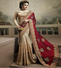 Indian Style embroidery worked party wear saree with low price