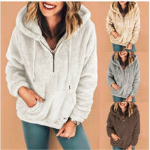 Women Zip Pullover Casual Fuzzy Fleece Sweatshirt Solid Color Hoodies Coat