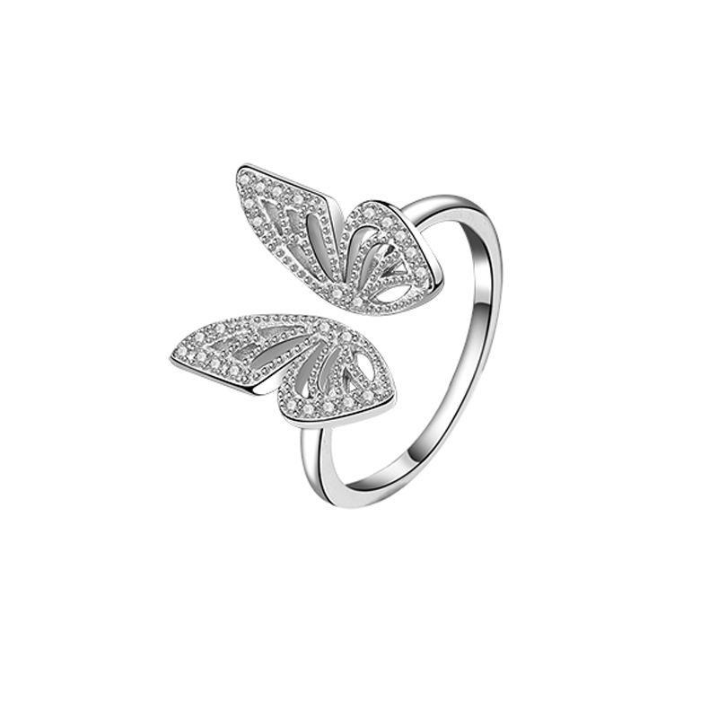 2020 Trend Jewelry Silver 925 Gold Plated Zircon Butterfly Ring for Ladies