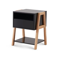 Stackable Glossy Black Nightstand/End Table, Sturdy Construction MDF Furniture