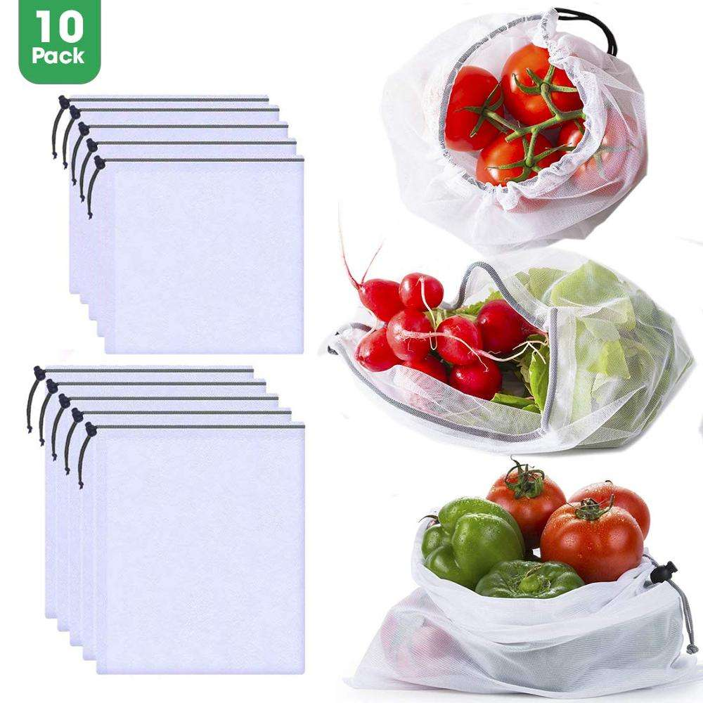 Customized Polyester Reusable Eco-friendly Storage Fruit Net Vegetable mesh bag
