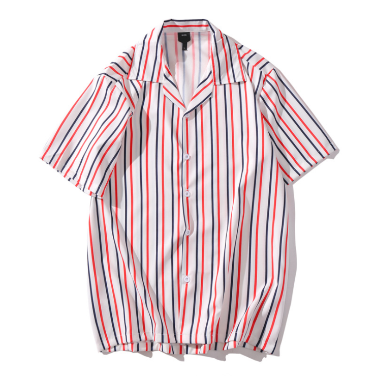 New style striped CVC men's short sleeve casual shirt