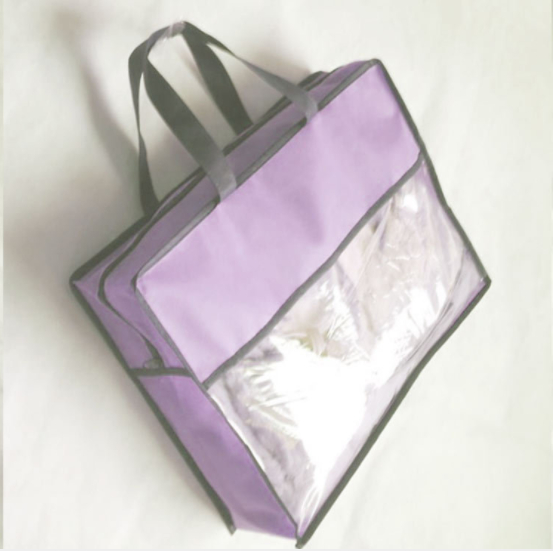 pvc plastic pillow carrier bag with non-woven sides and seam binding