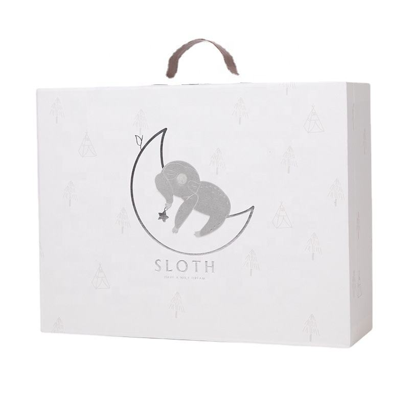 Sloth Children White Gift Boxes with Handles Kraft Gift Boxes Wholesale Packaging Jewelry Salons Leather Watch Box Golden