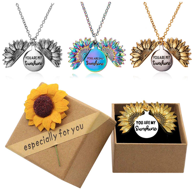 Fashion Antique Gold Silver Rainbow Open Locket Women Girl Gift You Are My Sunshine Sunflower Pendant Necklace Jewelry With Box