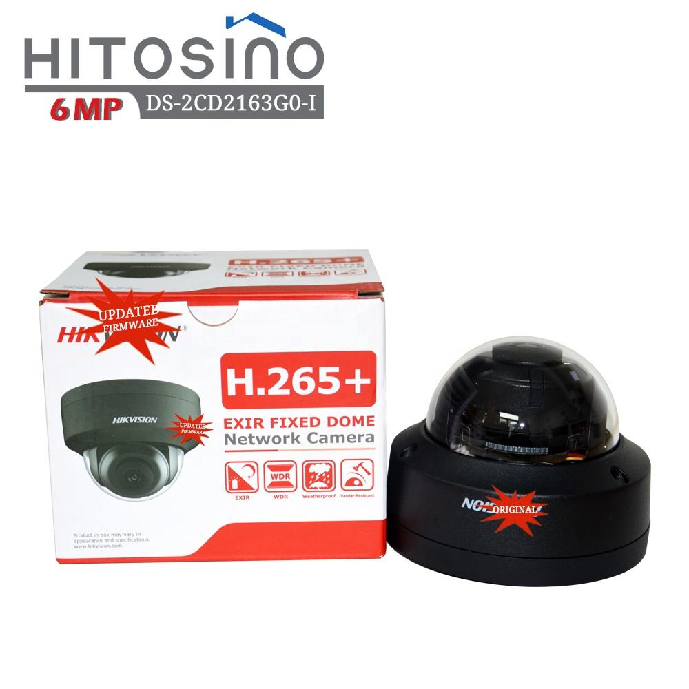 Hitosino HIK Original Black DS-2CD2163G0-I(S) 6MP IR Fixed Dome High Vision Motion Sensor Plug&Play Stadium Network CCTV Camera