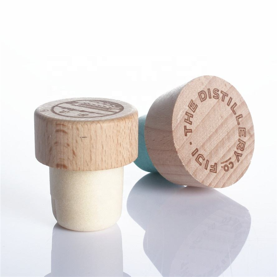 Low MOQ customized T shape custom color aluminum wine spirits liquor bottle wood top cap synthetic cork bottle stopper