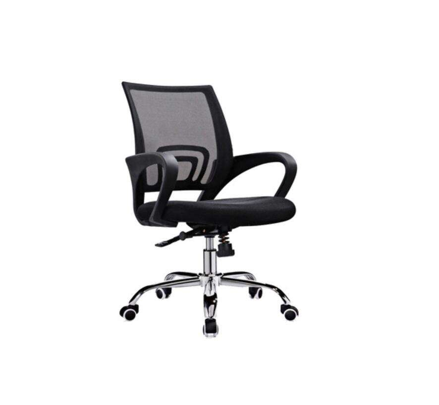 Black Office Training Room Meeting Chairs Mesh With Wheels