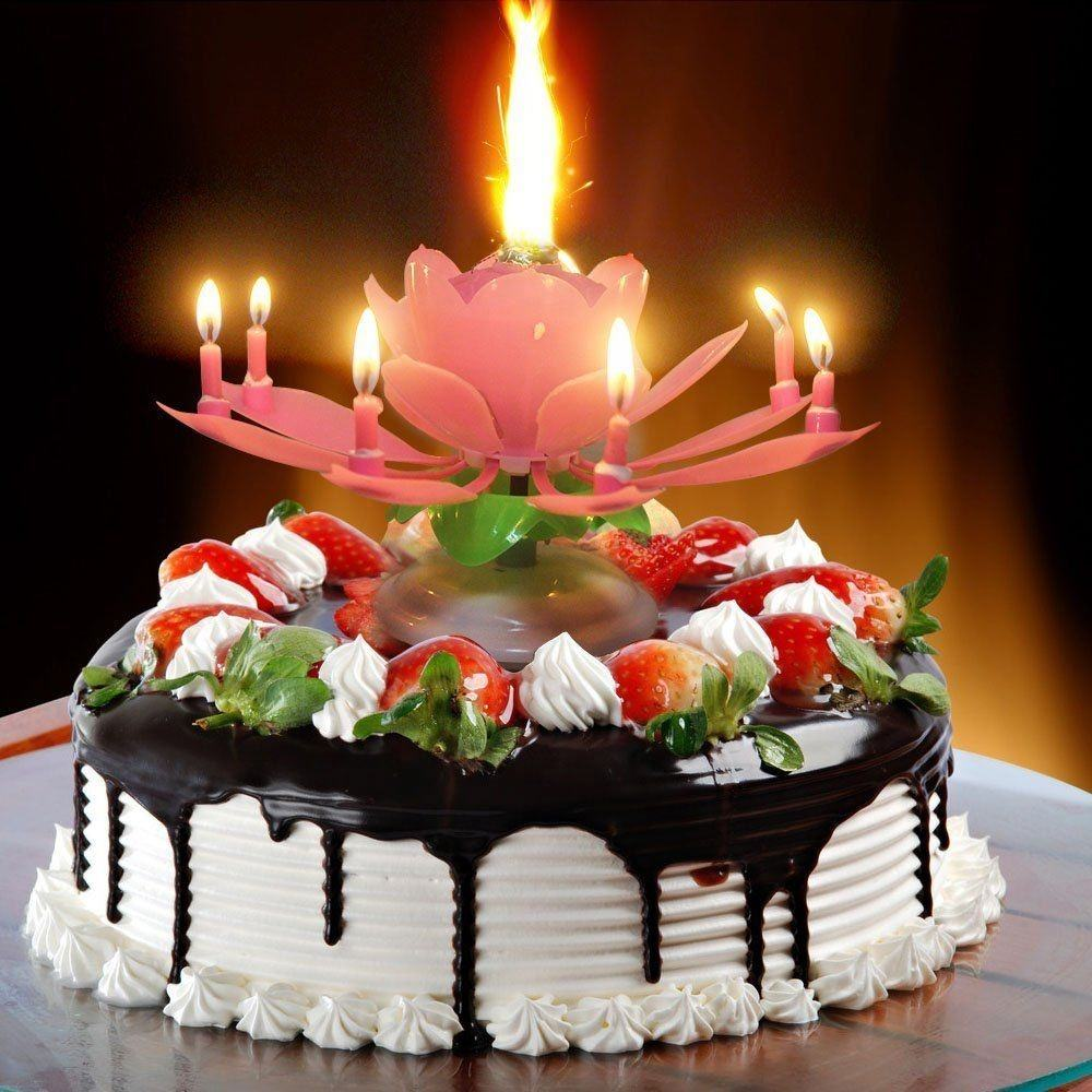 Singing Birthday Digital Happy Wholesale Beautiful Blossom Romantic Music Lotus Flower Petal Shape Party Birthday Cake Candle