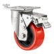 Stainless Steel Wheel Heavy Duty 4 5 6 8 Inch High Quality 304 Stainless Steel Fork Red PU Caster Wheel