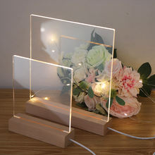 2020 Popular Australia Style LED Night Light , Rectangle Wooden Base With Blank Acrylic DIY Table Lamp For Home Decor