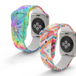 2021 OEM/ODM Custom Colors Rainbow Pattern printing Watch Tie Dye Silicone 40mm Band For Iwatch Band