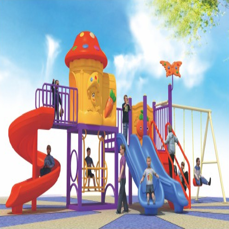 Popular Kids Plastic Outdoor Playground Equipment Slide Set