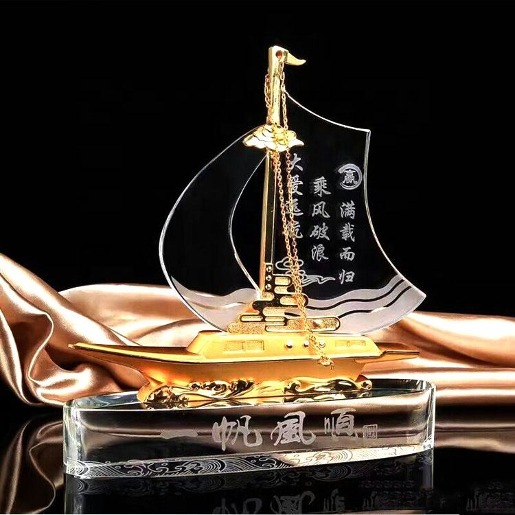 New Design K9 Wind Aand Waves Smooth Sailing Crystal Trophy Award With Metal Part For Business Gift