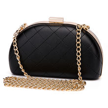 2020 Ladies Diamond Lattice Stitches Black PU Leather Wedding Party Hard Box Clutches Women Evening Bags Clutch Bag