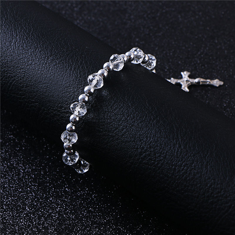 Komi Rosary Beads Bracelet JESUS Virgin Mary Fashion Religious Jewelry Silver Color Beads Elastic Bracelets R-074