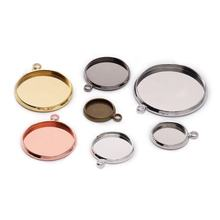 20pcs/lot 10 12 16 mm Round Silver Cabochon Base Tray Bezels Blank Setting Supplies For Jewelry Making Findings Bracelet Pendant