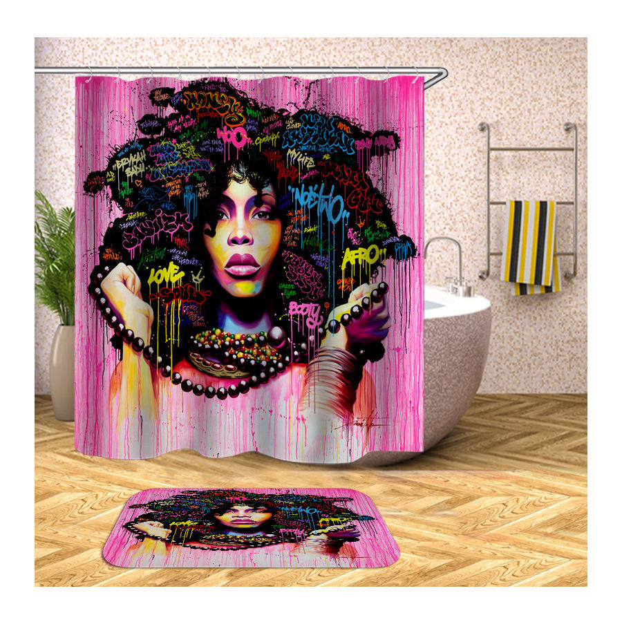 Wholesale African American Women Shower Curtains Custom Digital Printing, Home Goods Black Woman Shower Curtain Hotel/