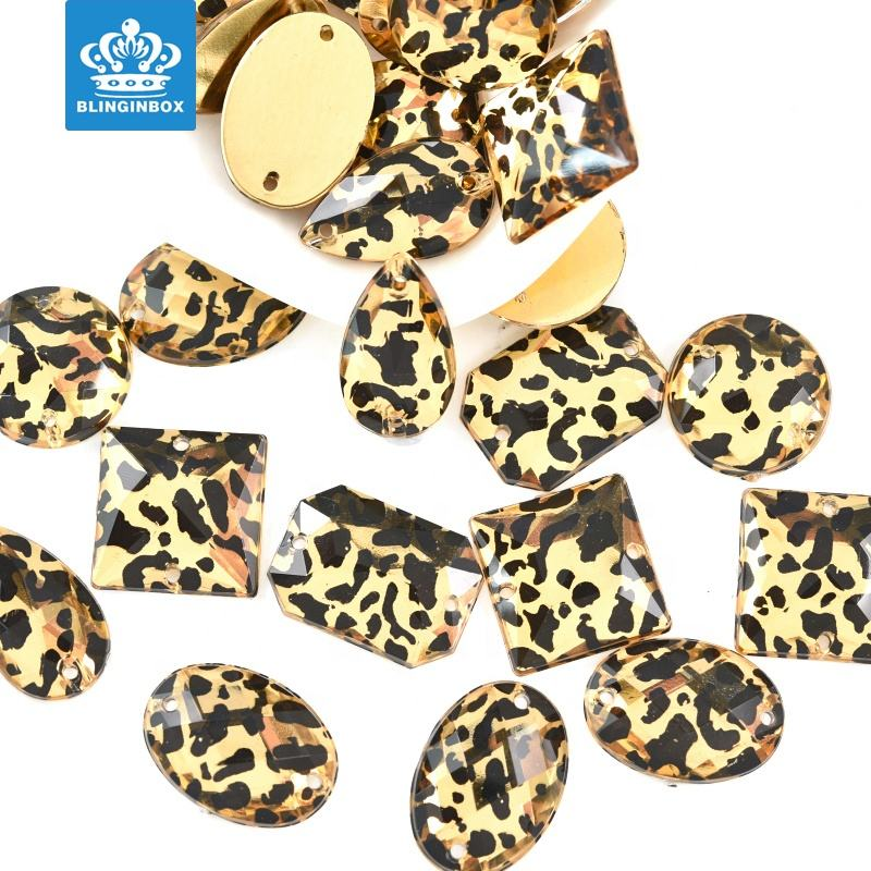 Leopard Sew On Rhinestones Flatback Acrylic Sew On Rhinestone Crystal Stones For Dress