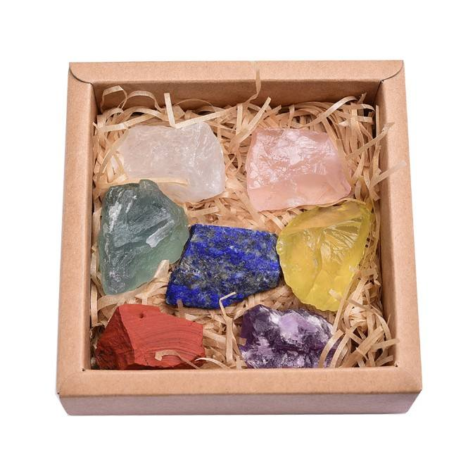 Natural large-grain unpolished seven-color crystal rough ore standard 7 chakra power stone
